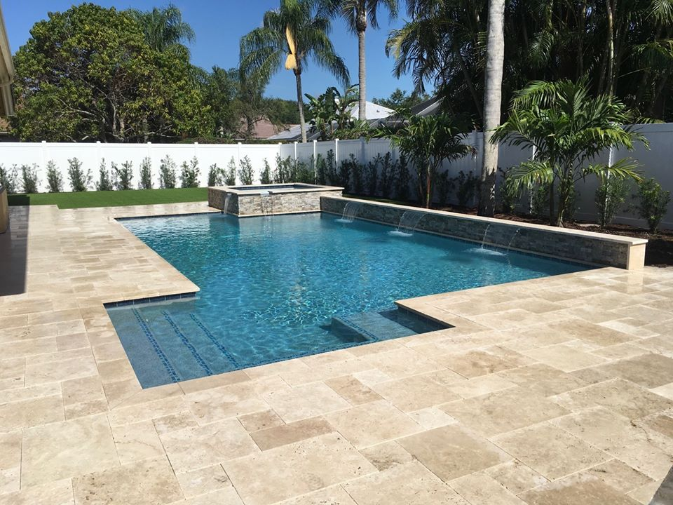 rhr pools of jupiter fl raised wall with sheer decent water feature