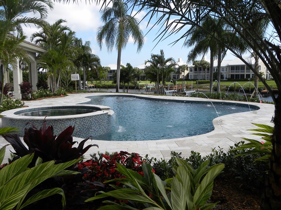 rhr pools of jupiter fl water features and raised spa with mosaic tile