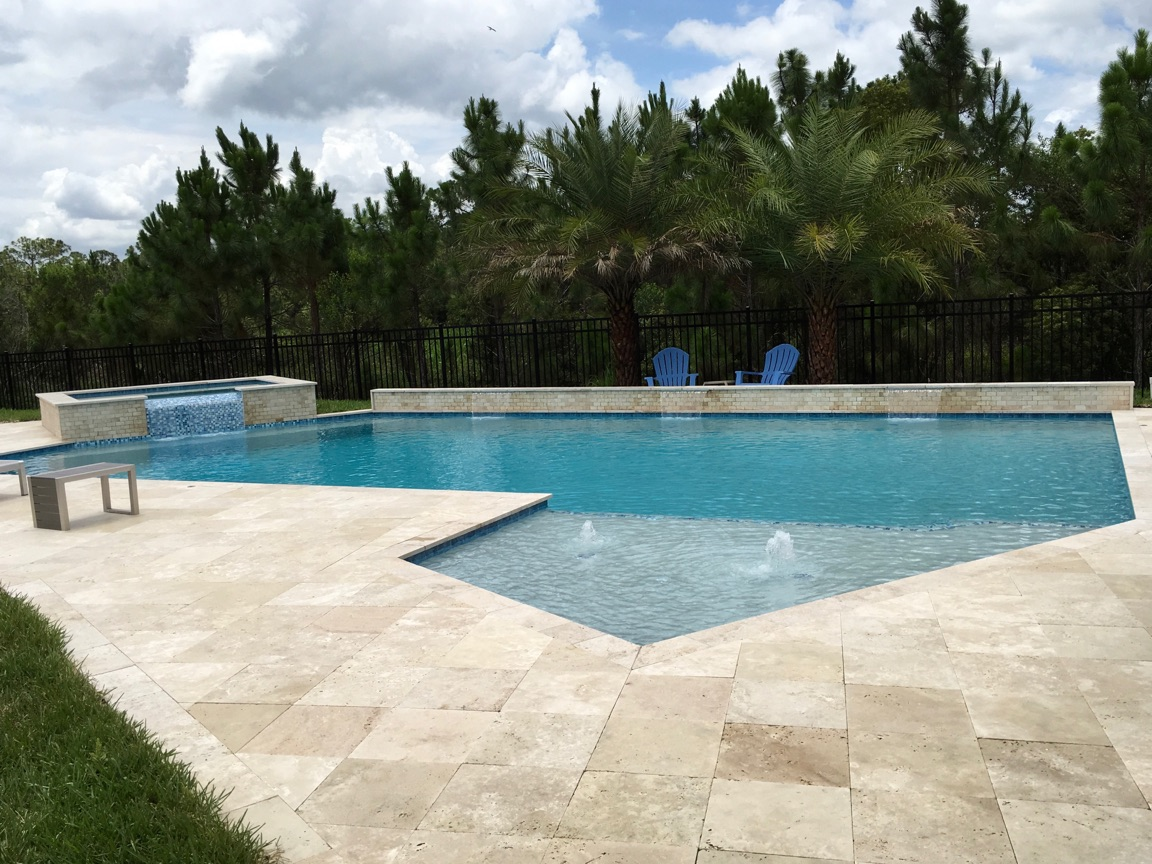 rhr pools geometric shaped pool with bubblers and raised spa and wall with water features