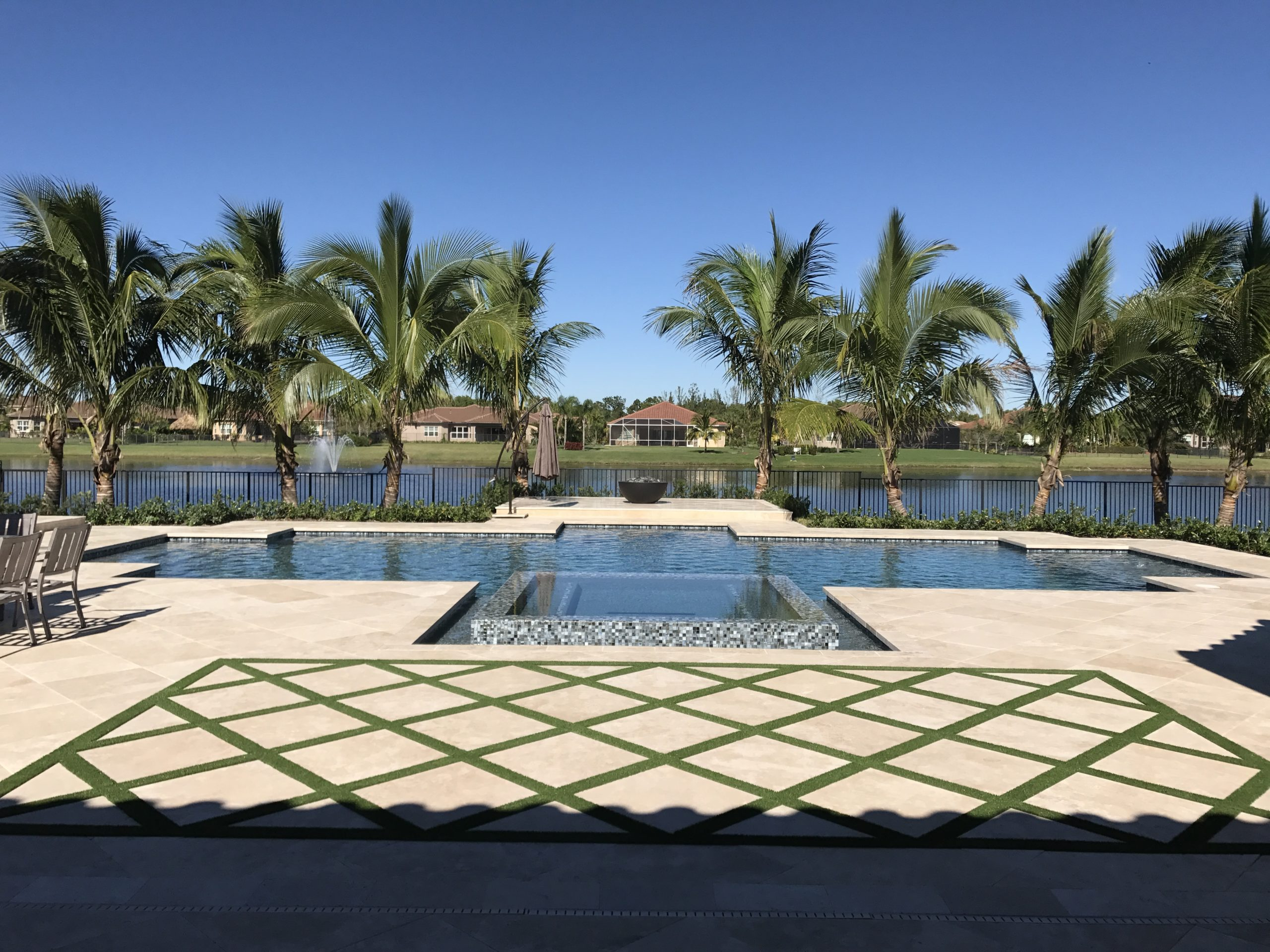 rhr pools of jupiter fl custom pool with sunken spa and dual steps