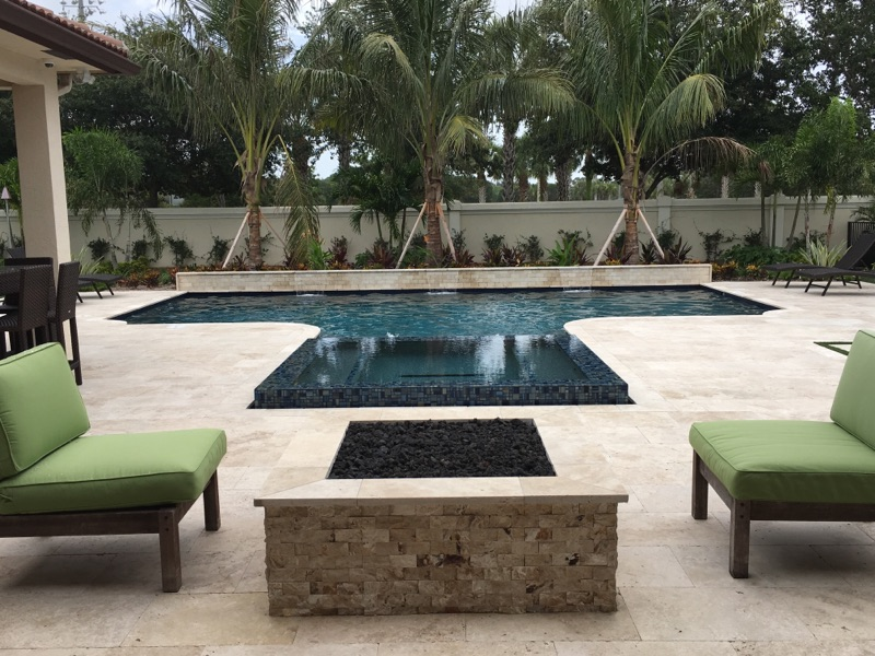 rhr pools dark interior and fire feature for a classically shaped pool