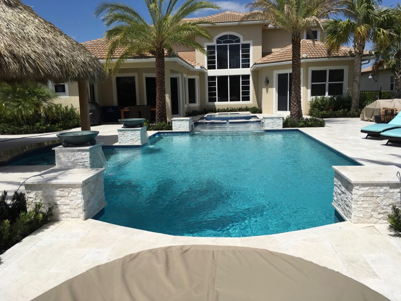 rhr pools in jupiter fl beautiful pool with tiki hut and raised spa for jupiter fl home
