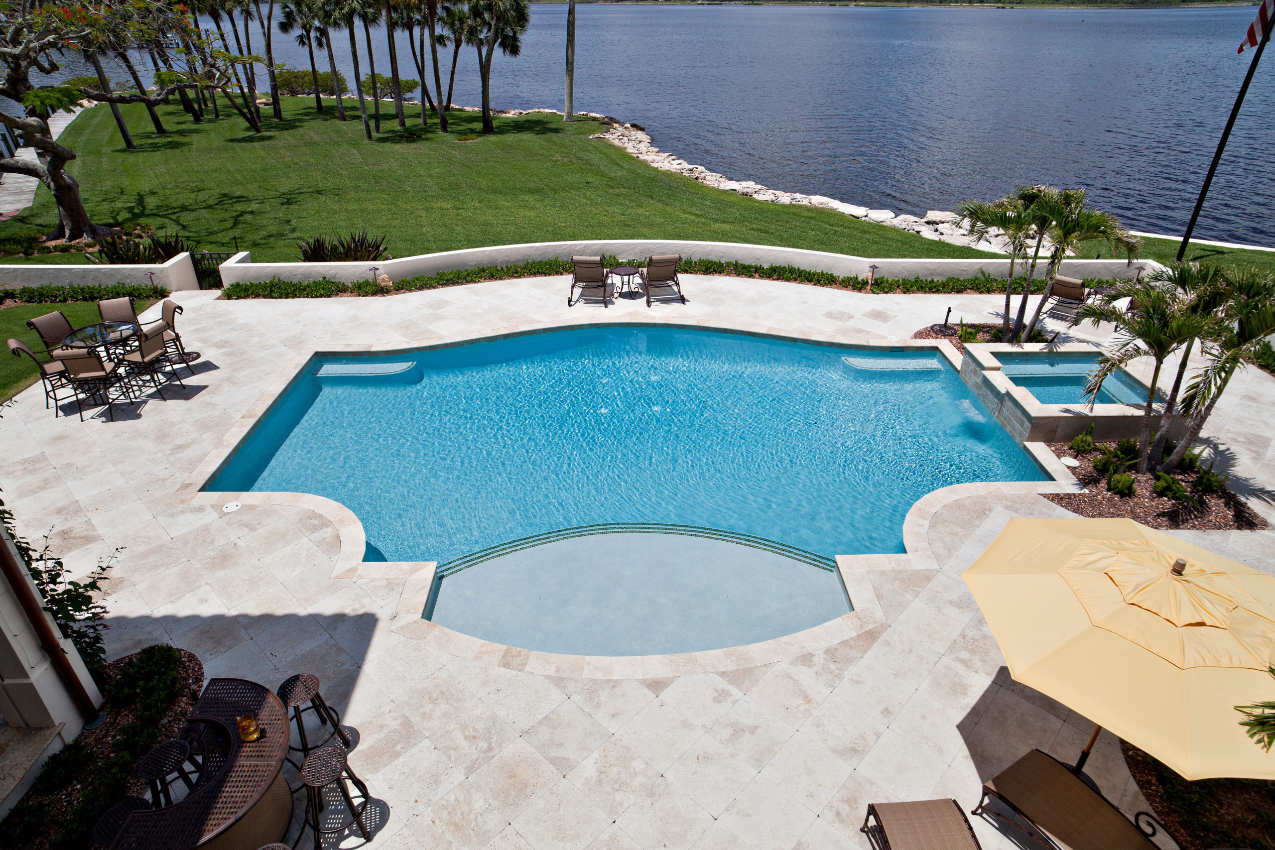 rhr pools of jupiter fl large pool with raised spa and oversized step