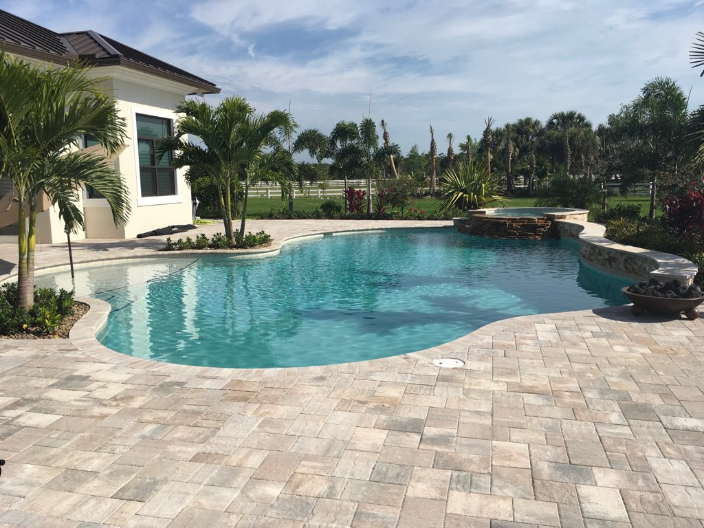 rhr pools of jupiter fl organic shaped pool with raised spa with rock edge